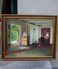 Eli Andersen ( 20th century ) The Old Vicarage. Sunlit interior. 1930s salon oil