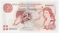 Isle of Man 20 Pounds 2000 P45a GEM UNC Queen Elizabeth Currency Note Prefix D