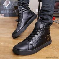 Fashion Mens High Top lace up  Buckle Sneakers Trainer Athletic Casual Shoes New