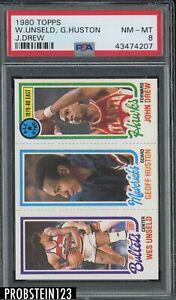 1980 Topps Basketball Wes Unseld HOF Geoff Huston John Drew PSA 8 NM-MT