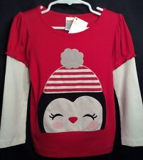 Nwt Toddler Girls Gymboree Holiday Penguin Top 3T Red White Shirt New