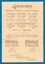 1930'S ADVERTISING FLYER - WINDERMERE BRAND HAIR CURLERS & ELECTRIC CURLERS