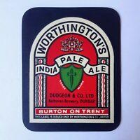 "Vintage Beer Label Worthingtons Belhaven Scotland New Old Unused Stock 1950s 3"""