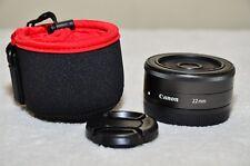 Canon EF-M 22mm f/2 STM Prime Lens for EOS M M1 M2 M3 M5 M6 M10 w/Case_Excellent