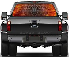 Punch Steel Carbon Fiber in Flames Rear Window Graphic Decal for Truck