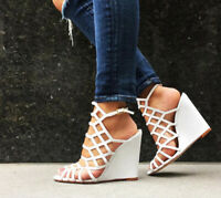 b5beacd5830 Schutz Margie Pearl White Leather Cutout Single Sole Caged Wedge Sandals