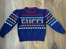 New Gucci Girls Knitted Heart Logo Sweater Cardigan Jumper Size 3-4 Years rp£280