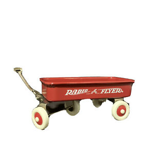 Miniature Red  Metal Wagon Radio Flyer Doll Prop Toy Accessory