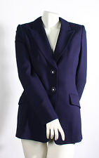 NWT Rena Lange Two-Button Notched Blazer Jacket in Blue Ink Size 6 $2395