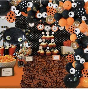 121pcs Halloween Balloon Arch Garland SET Black Orange Confetti Mylar Spider NEW