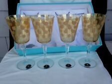 """4 NEW Wine Glasses by Italian Fumo Gold Polka Dots on Amber 8"""" Tall"""