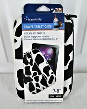 "Travelocity 7""- 8"" White & Black Animal Print Neoprene Zipper Tablet Case Sleeve"