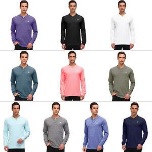 Men Henley Shirt Long Sleeve Shirts T-Shirt Collarless Button Gym Fitness Tee