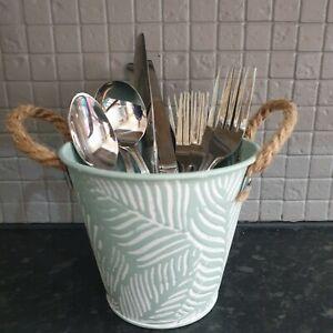 Vintage Style Metal Storage Pot Bucket Kitchen Utensil Cutlery Holder Plant Vase
