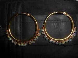 Ethiopian Welo Opal Beads Earrings, Opal Hoop Ring Earring, Gemstone Ear Jewelry