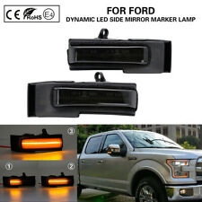 NEW 60LED Dynamic Side Mirror Turn Signal Lights For 15-20 Ford F150 Smoked Lens