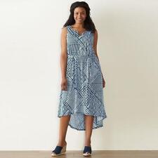 NEW Sonoma Womens Drapey Tie Dye Maxi Knit Dress Blue White High Low Plus 2X $60