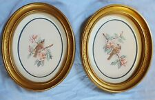 """Homco Home Interiors Birds Oval Pair Pictures Gold Frame~11"""" X 9"""""""