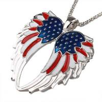 USA Enamel Angel Wing Jewelry Sets Flag Angel Wings Necklace Earring Set Fashion
