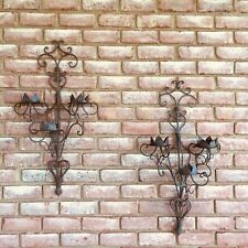 "Large Vintage Wrought Iron Gothic Wall  Sconce Holds 6 Candles 32""L 18"""