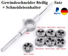 Gewindeschneider,außen, 8-teilig, M3, M4,M5,M6,M8,M10,M12 + Schneideisenhalter