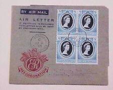 SEYCHELLES FDC AIR LETTER QUEEN ELIZABETH II CORONATION 1953 BLOCK CACHETED