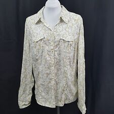 Charlotte Russe Button Front Shirt Size XL Yellow Flowers on White