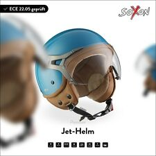 JET MOTORCYCLE-HELMET VESPA SCOOTER RETRO MOTO - SOXON SP-325 BLUE XS S M L XL