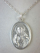 "Sacred Heart of Jesus Medal Italy Pendant Necklace 20"" Chain"