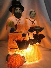 "Vintage Thanksgiving Pilgrims Spagetti Electric Table Lamp 13""H"