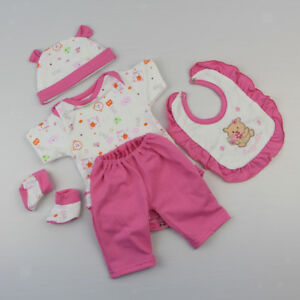 "Bear Romper Pants Hat Bib Socks For 17""-18'' Reborn Baby Girl Doll Clothes"