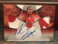 2006-07 Upper Deck Exquisite Shaun Livingston Auto And Dual Patch #'d 15