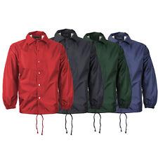 Men's Water Resistant Lightweight Button Up Windbreaker Drawstring Coach Jacket