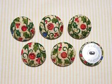 6 Christmas Ball (Christmas Ornament) Fabric Covered Buttons - Red (30mm)