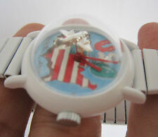 Rare DOME Top Wind Watch 3 Dimension Flying Plane Second Hand, Toy Watch