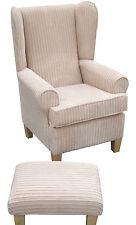 Wing Back/Fireside Chair & Footstool- Beautiful Soft Cream Jumbo Cord Fabric