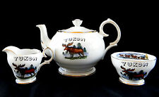 Queen Anne Wolf Moose Canada Tea Coffee Pot Set 3 pieces Fine Bone China Yukon