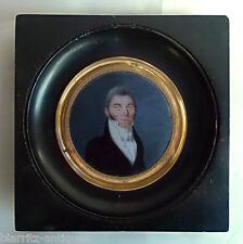 Miniature en tondo d'époque Empire vers 1810 - Homme en buste aux favoris