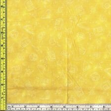 Paddington Bear Honey Mustard Yellow fabric White Food Drawing 1/4 yard 22.5 cm