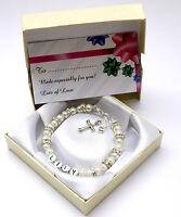New baby child girl personalised christening holy communion bracelet cross & box