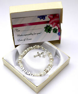 New baby child girl personalised christening holy communion bracelet cross & box