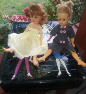 2 Miss Suzette tiny teen fasion dolls or Revlon dolls, case and cloths