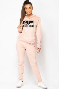 Womens Pink J`adore Sequin Velour Tracksuit Lounge Set