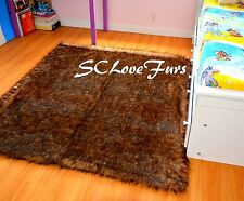 "58"" X 72"" Grizzly Bearskin Faux Fur Rectangle Area Rug Accents Decor Home Carpet"