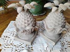 "Vtg Set Of 2 Hand Cast Sand Stone 7"" Pineapple Candlestick Holders"