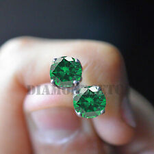 14K Yellow Gold Over 1.55 Ct Round Cut Emerald Stud Screw Back Earrings