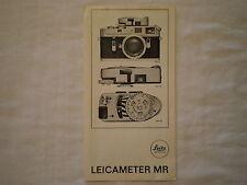 VINTAGE 1969 LEICA LEITZ WETZLAR LEICAMETER MR LIGHT METER BI-FOLD PAMPHLET
