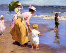 At The Beach - E Potthast 8x10 Print Children Women Sea Sun Ocean Summer Art 160