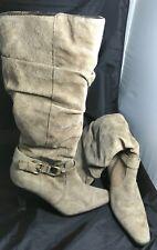 Blake Scott Tan Suede Dress Boots 8M Leather Knee High Side Buckle High Heel