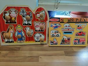 melissa and doug  animal puzzle  and vehicles sound puzzle